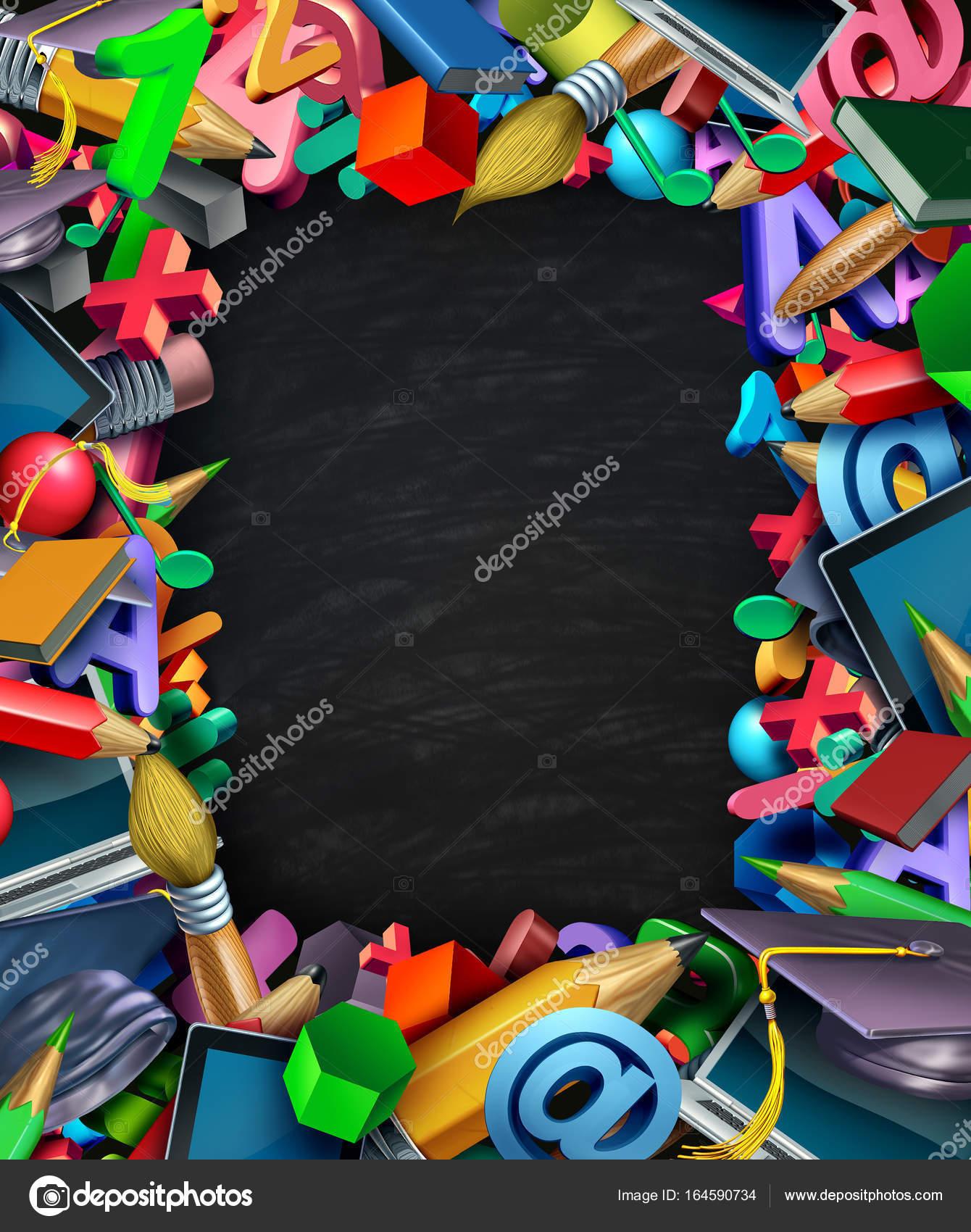 Material escolar marco tablero negro — Fotos de Stock © lightsource ...
