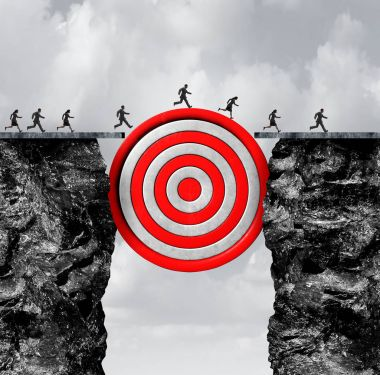 Recruiting target career goal as a group of people running through two cliffs with a bulls eye as a bridge as a business employee metaphor with 3D illustration elements. stock vector