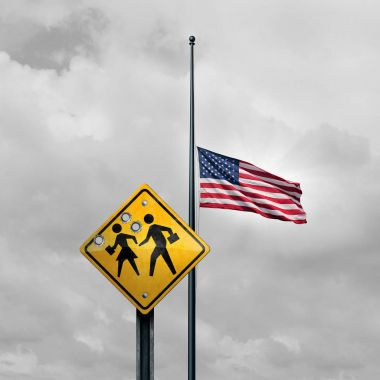 School shooting tragedy and horrific gunfire towards students as a sign with bullet holes with an american flag at half mast for a tragic violent event in the United States with 3D illustration elements. stock vector