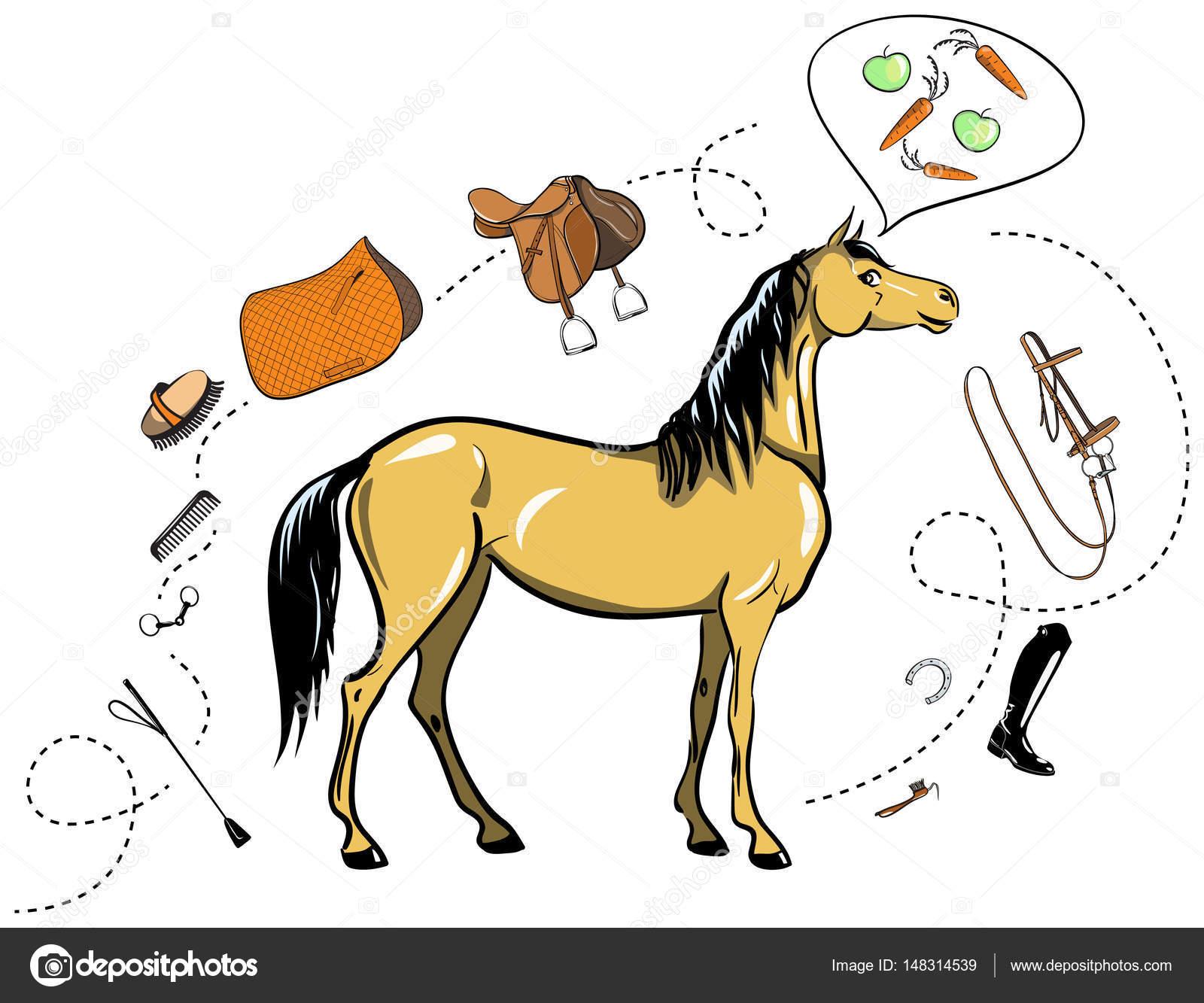 Caballos y tachuela del caballo. Brida, silla, estribo, cepillo ...