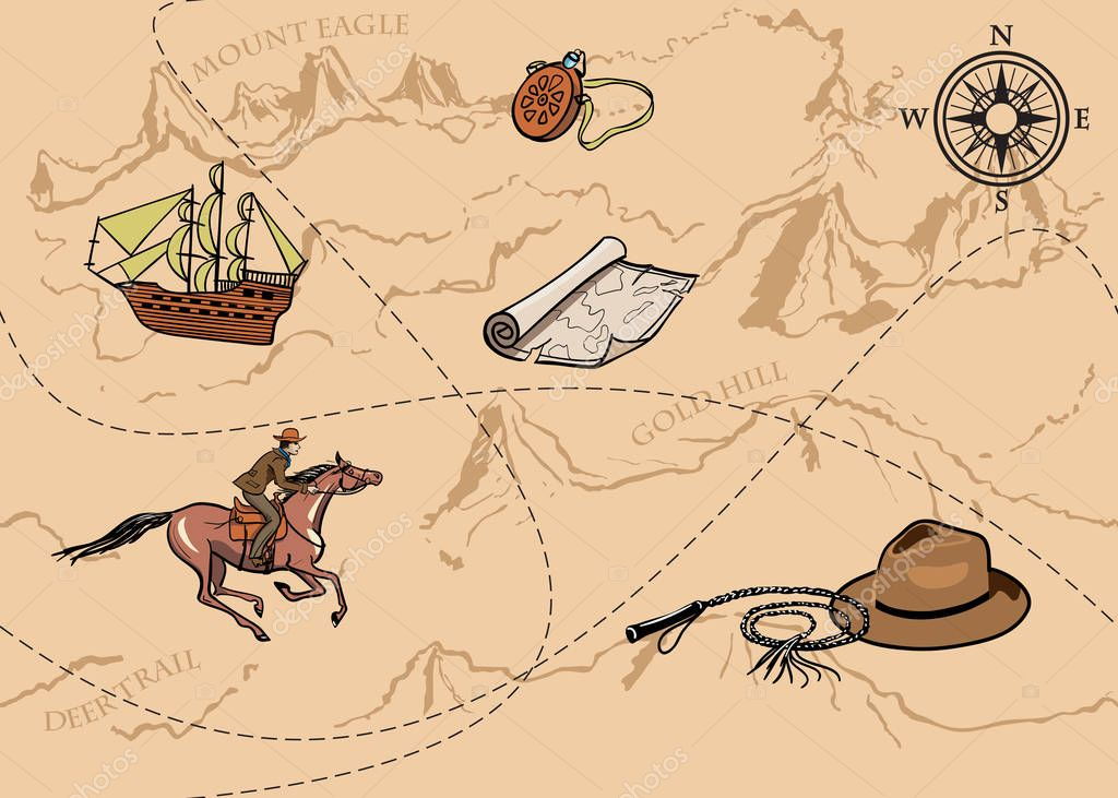 Adventure vintage seamless pattern of map. Map of treasure with rider, mountains, hills, river, compass and other design elements.