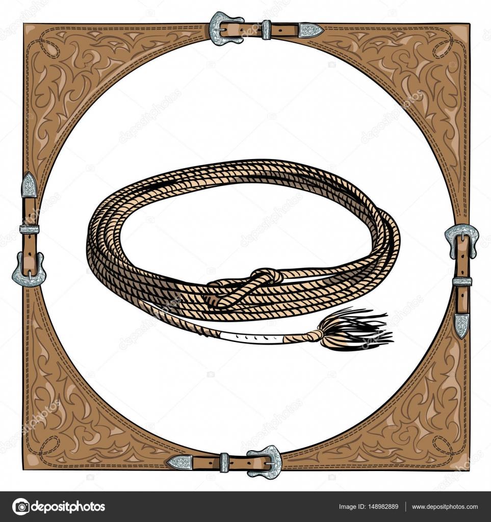 Cowboy-Kalb Seil im westlichen Leder Rahmen auf weißem Hintergrund ...