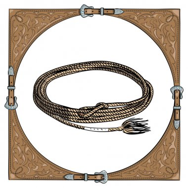 Cowboy calf rope in the western leather frame on white background.