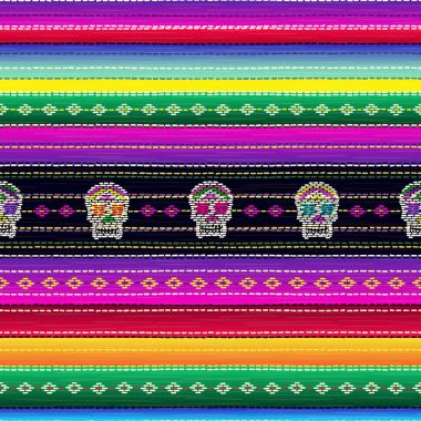 Seamless ethnic mexican fabric pattern with colorful stripes and Catrina`s skull.