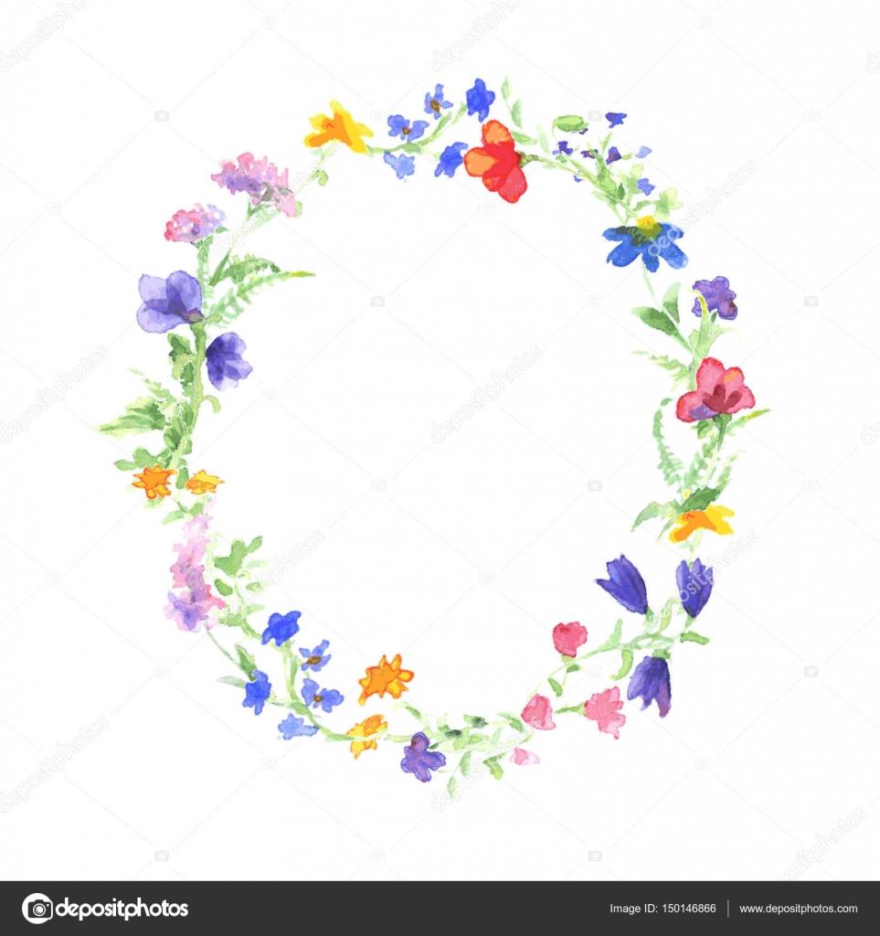 Vektor Aquarell Kranz mit bunten Sommerblumen. Rahmen mit Motivation ...