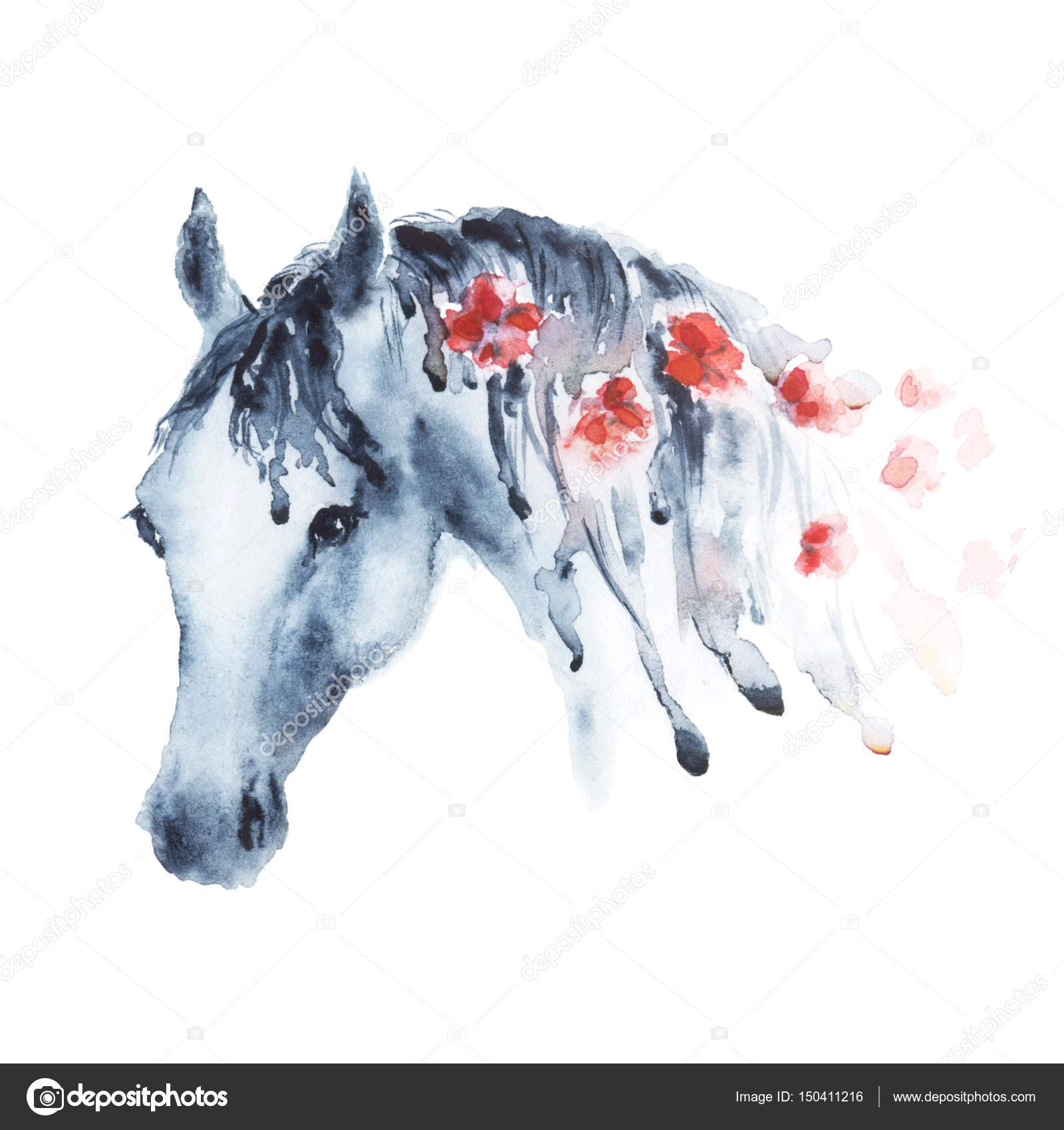 Wet Watercolor Horse Head With Red Flowers In Mane Stock Photo C Larisa Zorina 150411216
