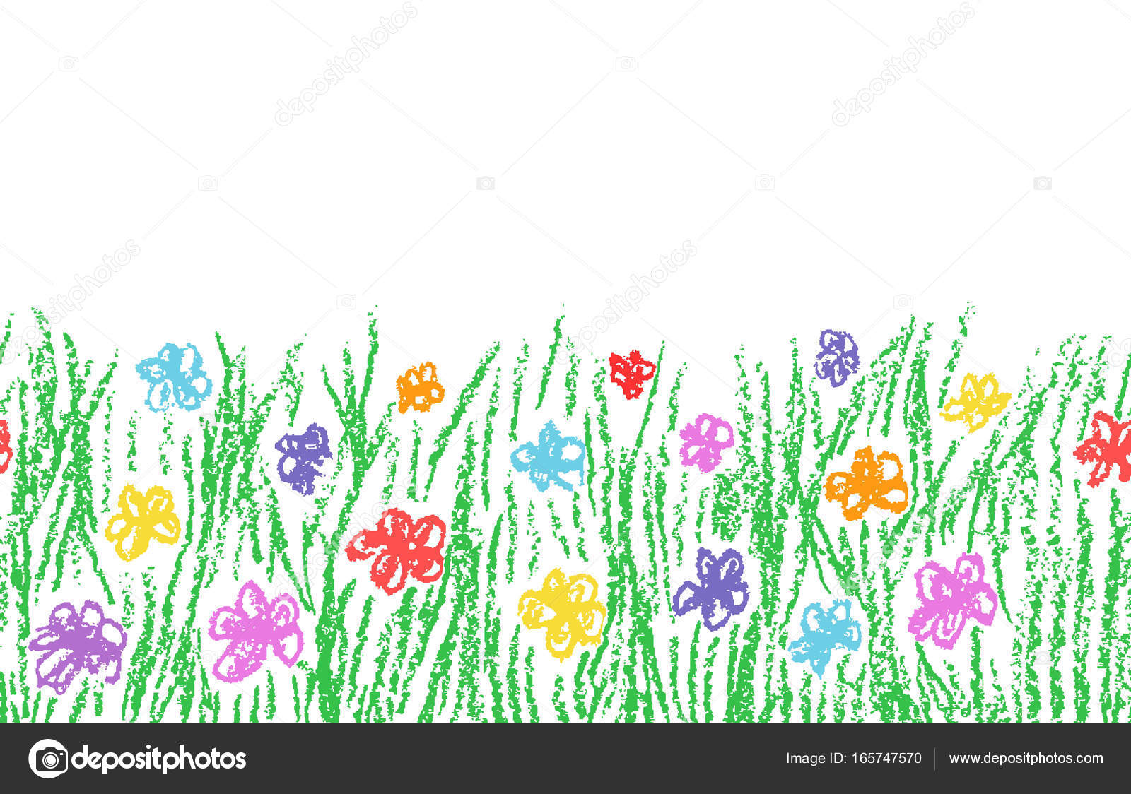 Wax Crayon handgezeichnete Grasgrün mit Farbe Blume isoliert auf ...