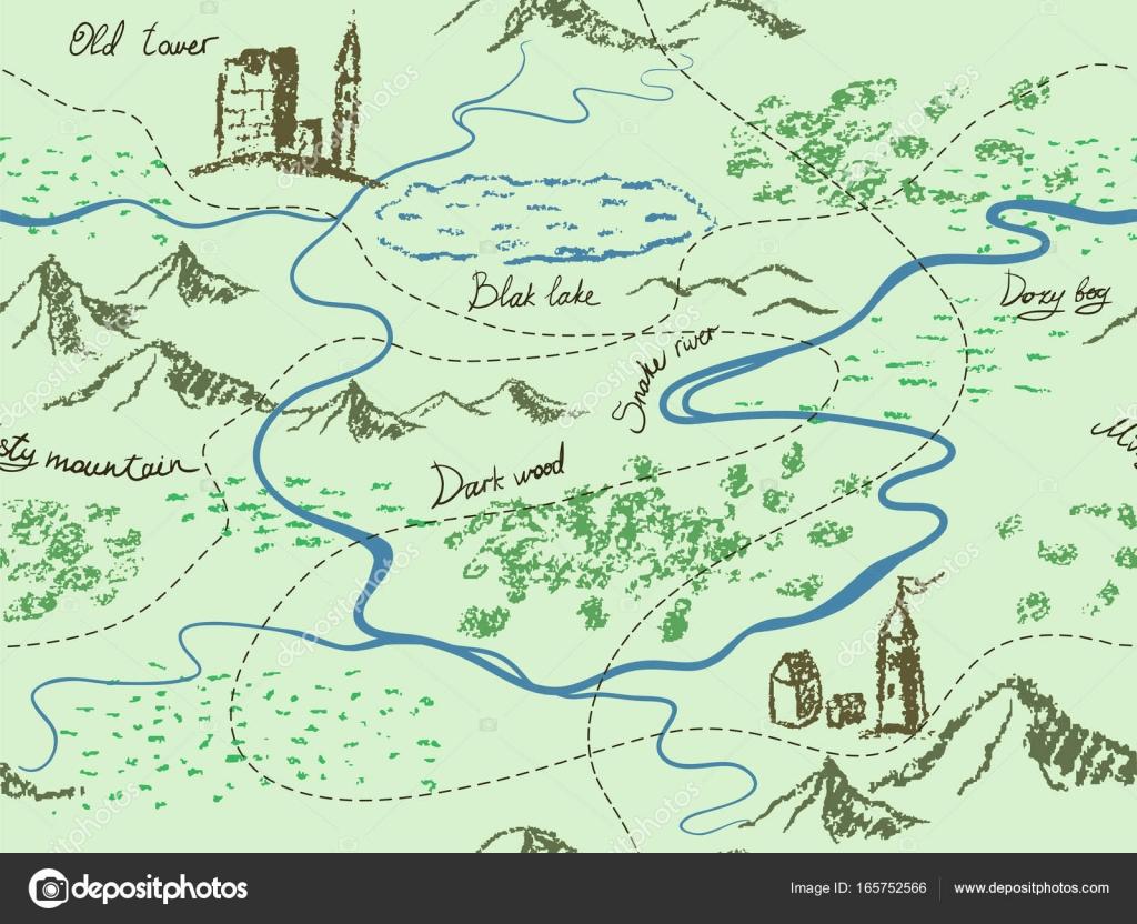 Fantasy Karte.Im Alter Von Fantasy Vintage Nahtlose Karte Mit Berge Gebäude