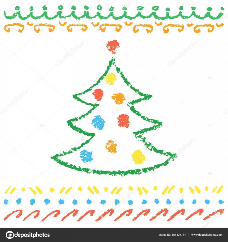 Crayon child\'s drawing of merry christmas tree with balls and ...