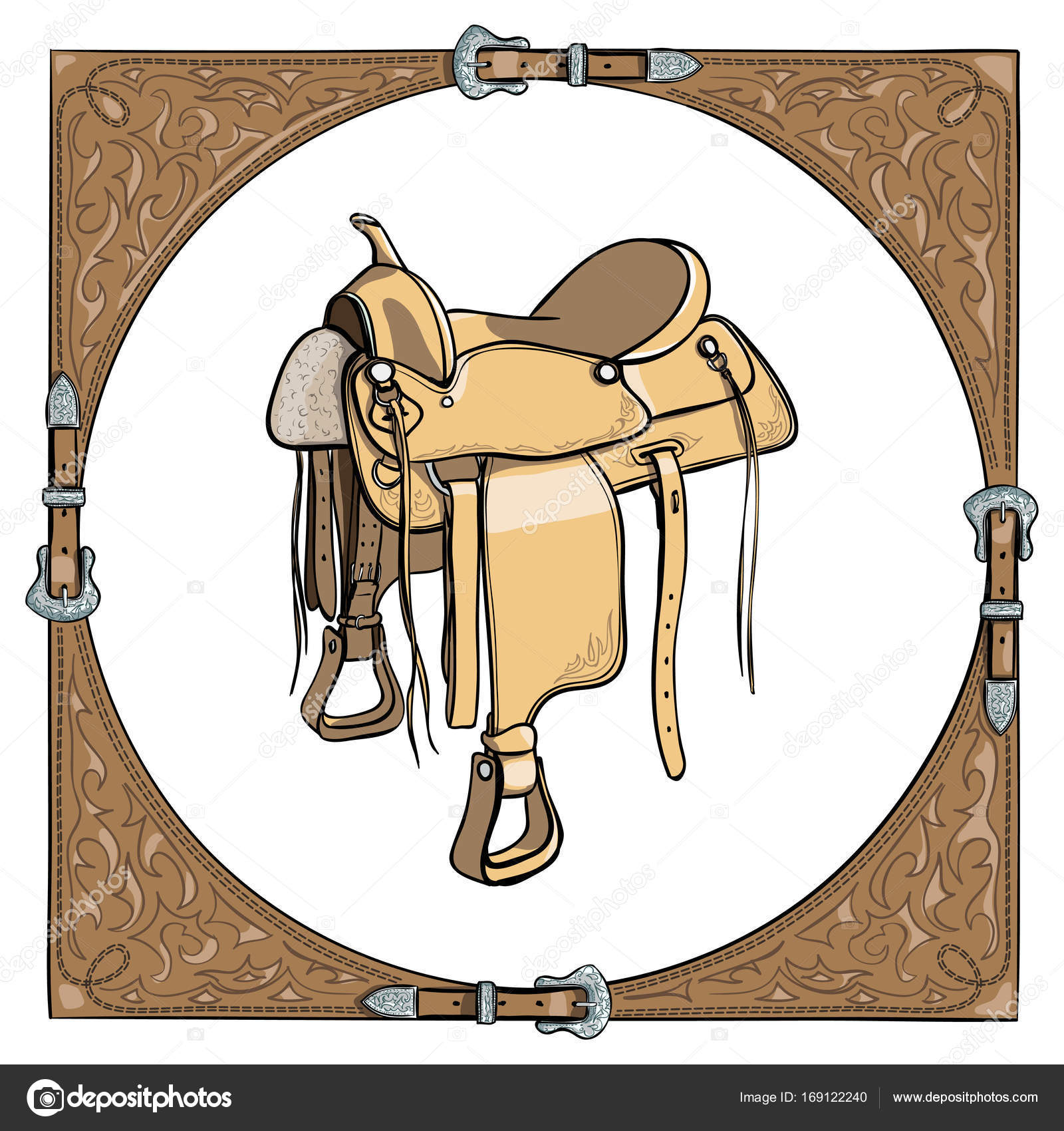 Cowboy western saddle in the leather frame background. — Stock ...