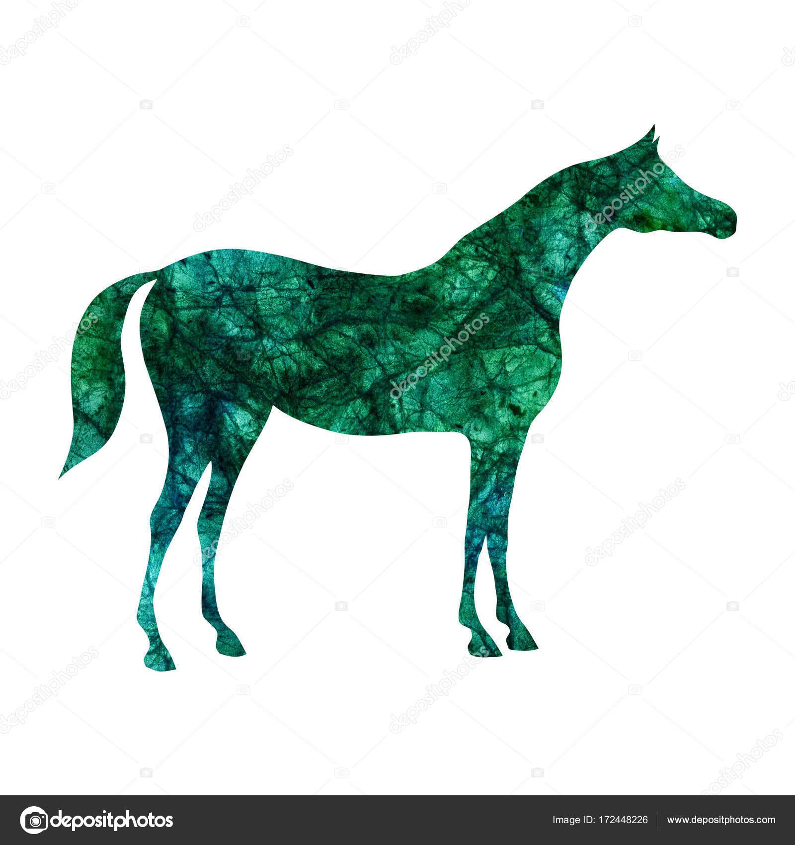 Arabian Horse Silhouette With Watercolor Green Malachite Emerald Color Texture On White Stock Photo C Larisa Zorina 172448226