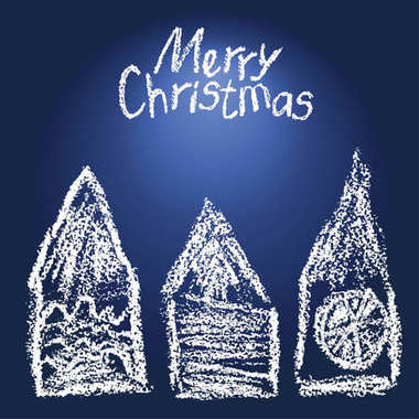 Like child's drawing christmas house set background. Crayon funny doodle design element.