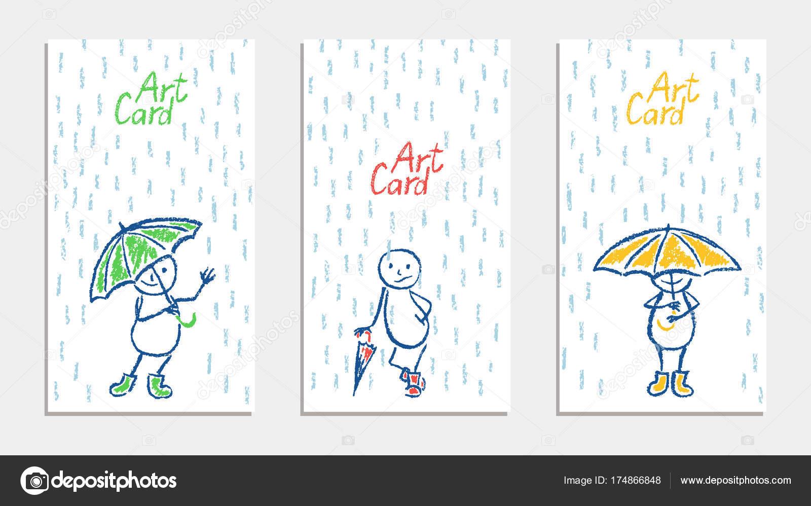 şemsiye Yağmur Kartı Ile Komik Adam Ayarla Mum Mum Boya Stok
