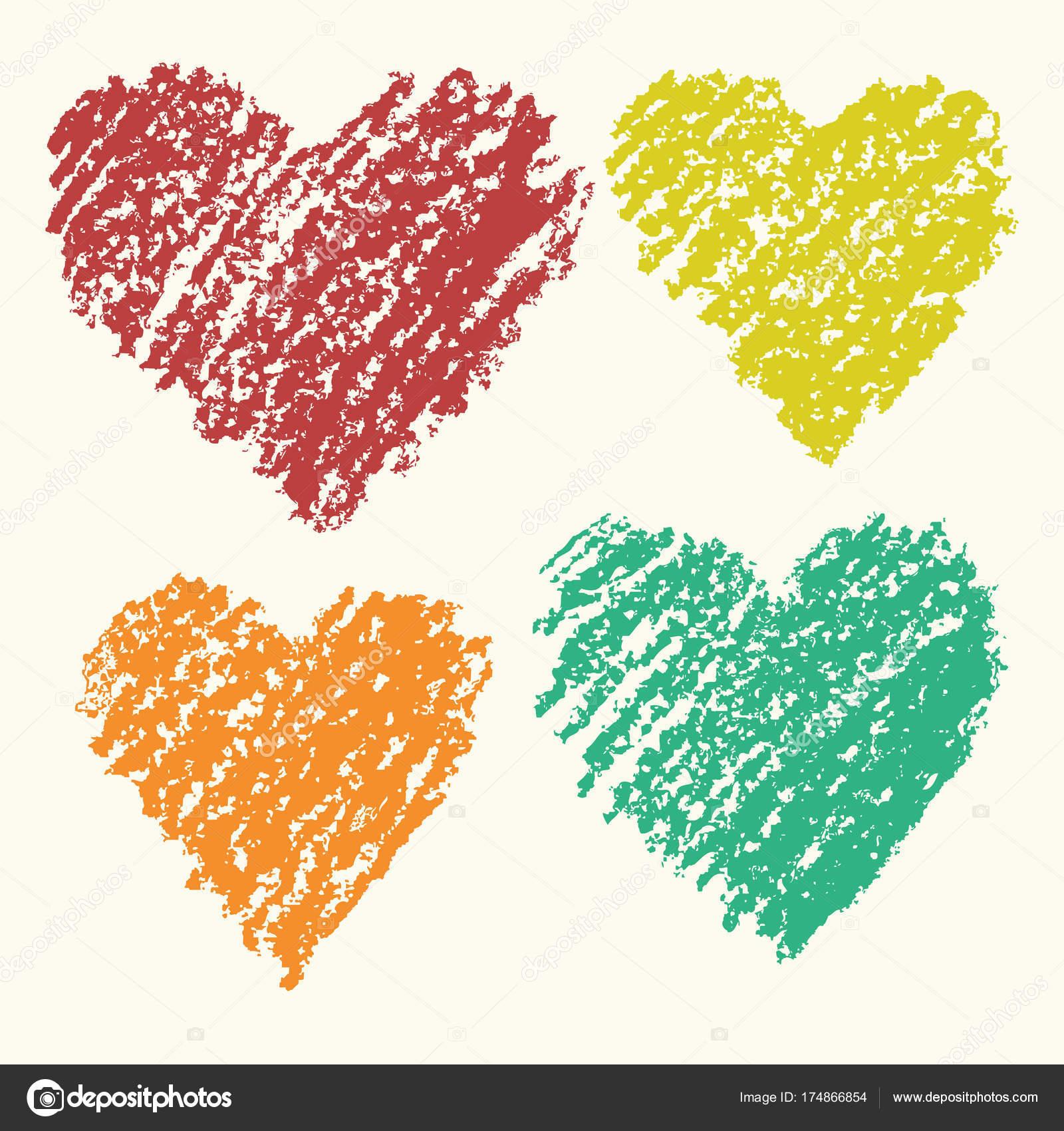 Srdce Tvar Retro Barva Umeni Tahy Pastelka Rucni Kresleni Sady