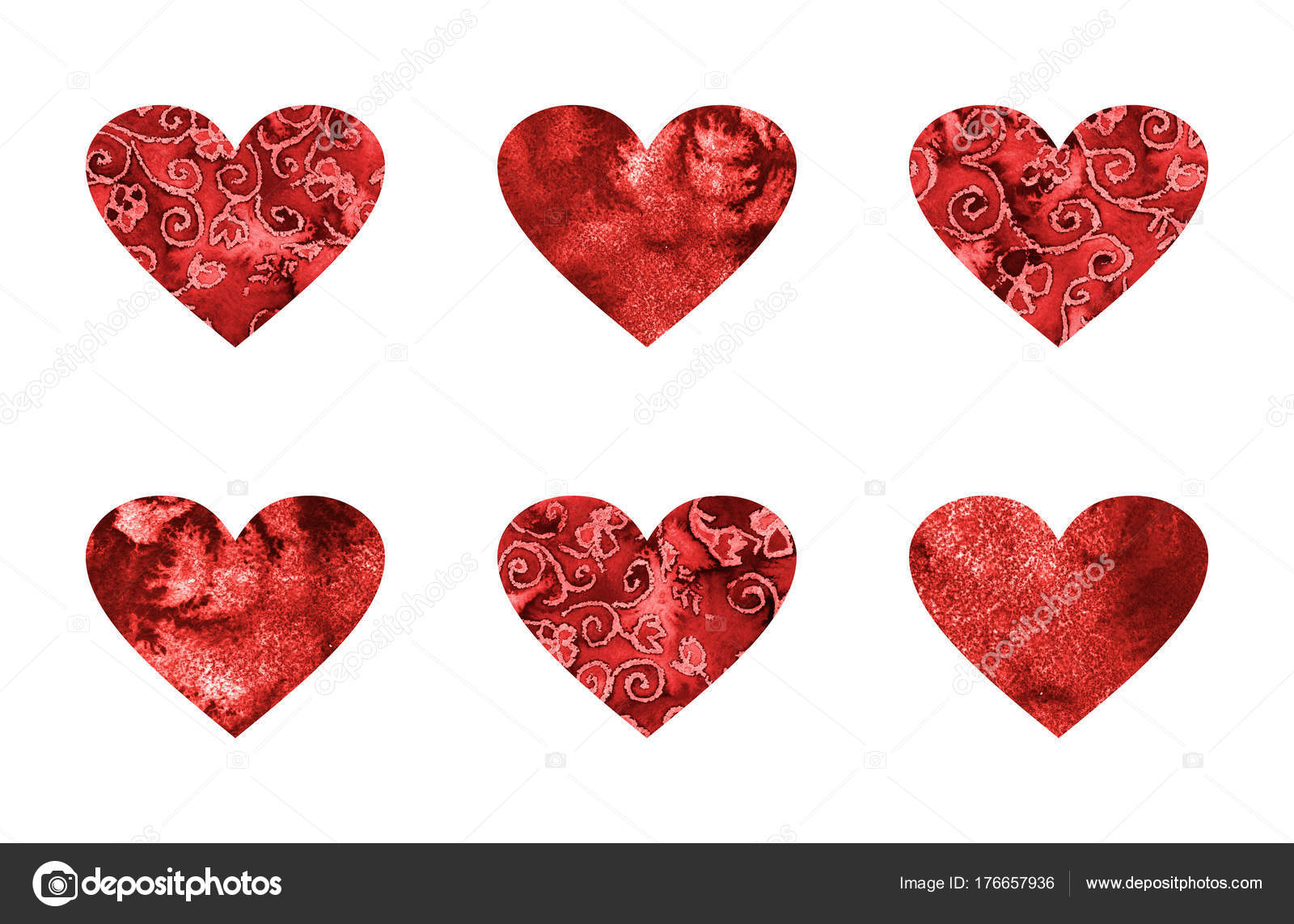 Kalp şekli Boyama Suluboya Doku Beyaz üzerine Kırmızı Ile Ayarlayın