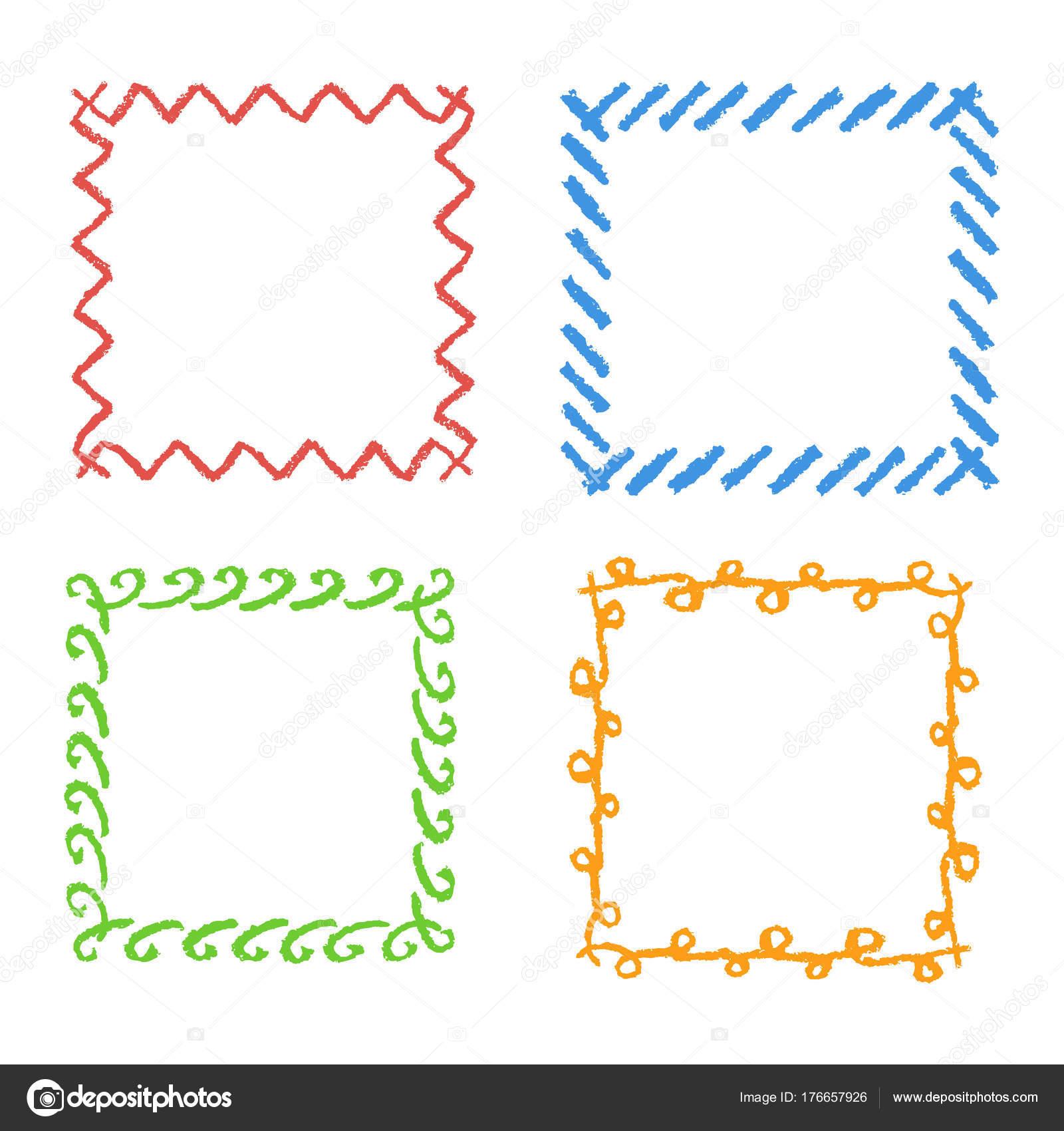 Crayon Hand Drawing Square Frames Set Colorful Rectangular Ornate ...