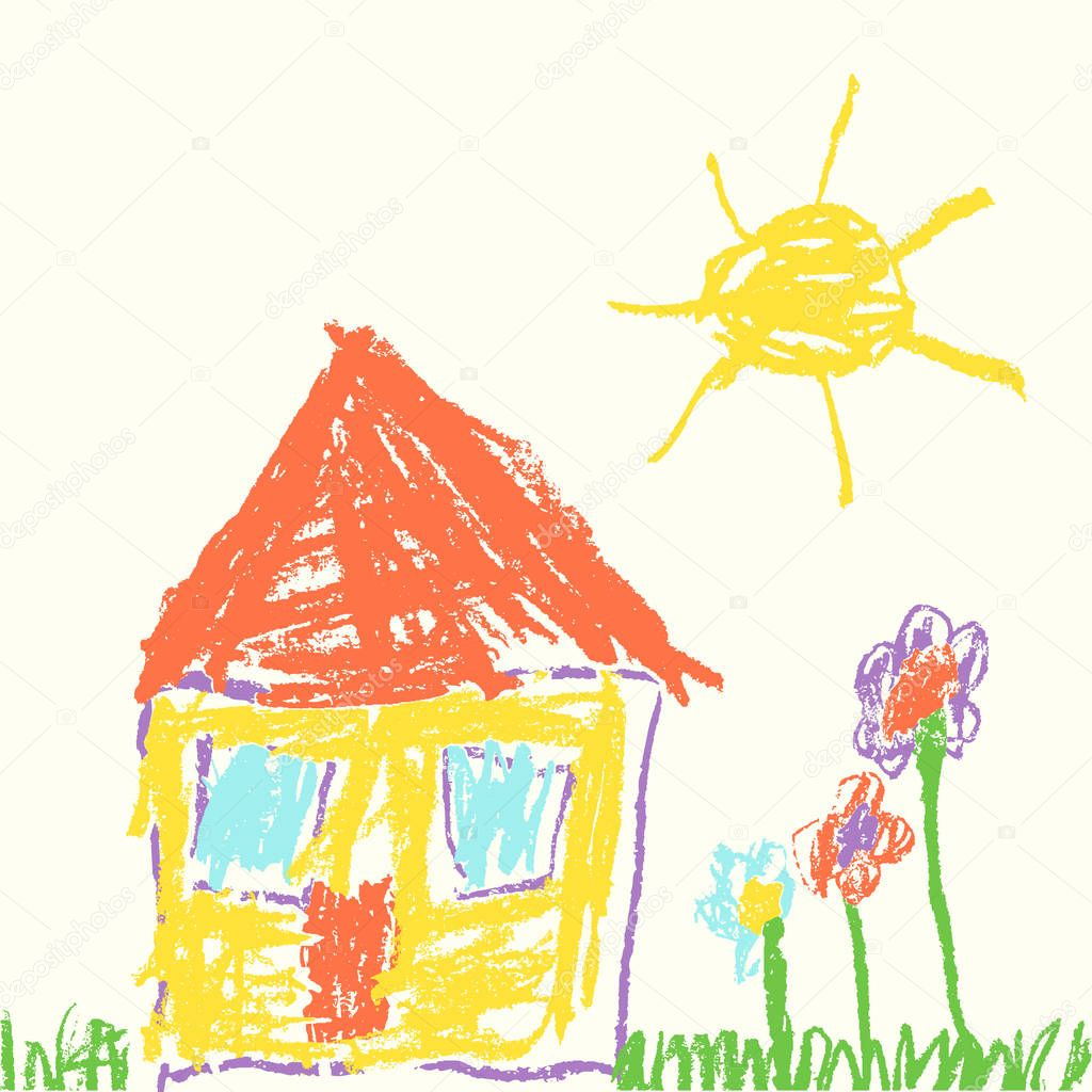 Drawings Grass Child Hand Drawn House Wax Crayon Drawing Grass