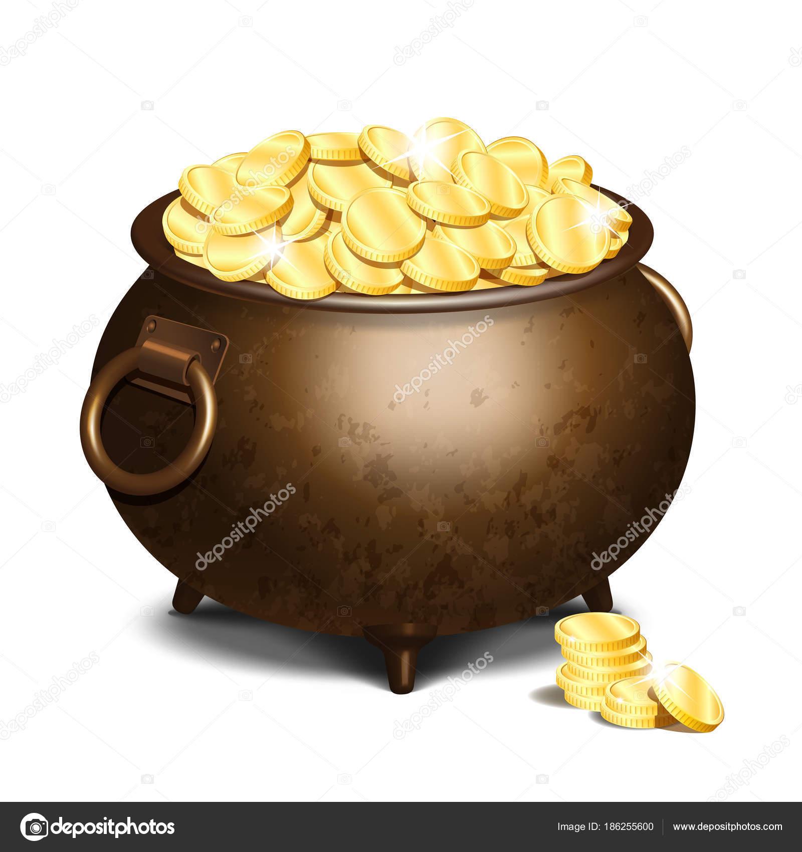 Alte Eisen Kessel voller Goldmünzen — Stockvektor © tassel #186255600
