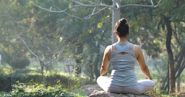Žena cvičí jógu v lotosové pozici v parku