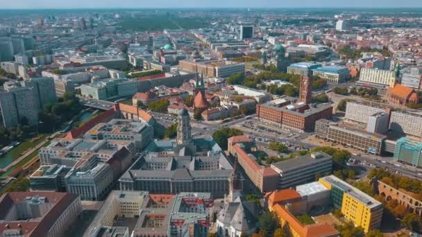 Luftaufnahme der Berliner Stadtarchitektur. Wohn- und Geschäftshäuser.