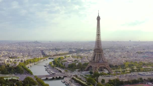 PARIS, FRANCE - MAY, 2019: Aerial drone view of historical city centre and Eiffel tower