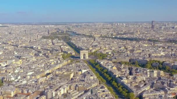 PARIS, FRANCE - MAY, 2019: Aerial drone view of Triumphal Arch in historical city centre.