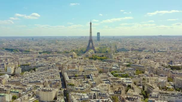PARIS, FRANCE - MAY, 2019: Aerial drone view of Eiffel tower and historical city centre from above.