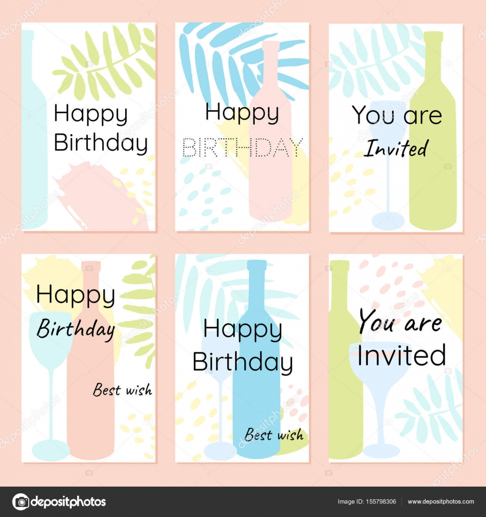 Happy birthday and invitation vector cards in a minimalist style bottles of wine glasses abstract leaves and dots mediterranean style vector by svyatoslavam stopboris Images