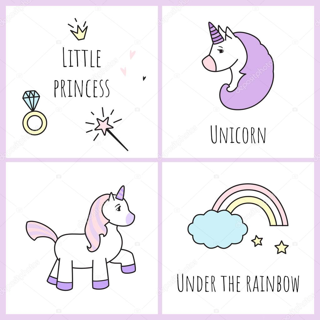 Set of postcards with cute unicorns