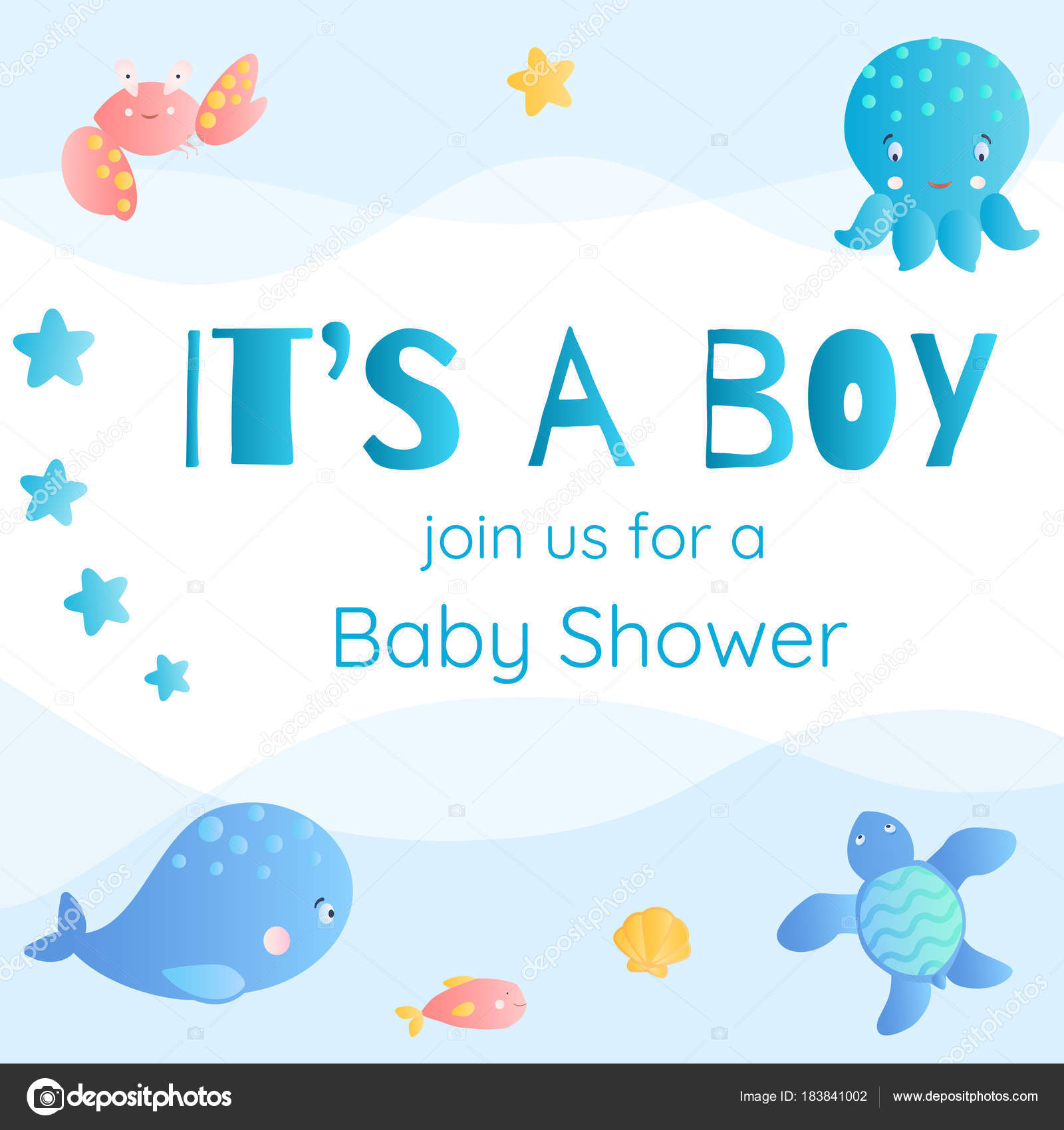 It\'s a boy. Baby Shower invitation in marine style. — Stock Vector ...