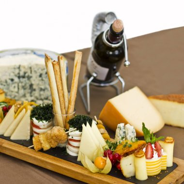 Cheese plate: roquefort with blue mold, cheddar, smoked cheese,