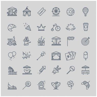 Thin line set - amusement park icons