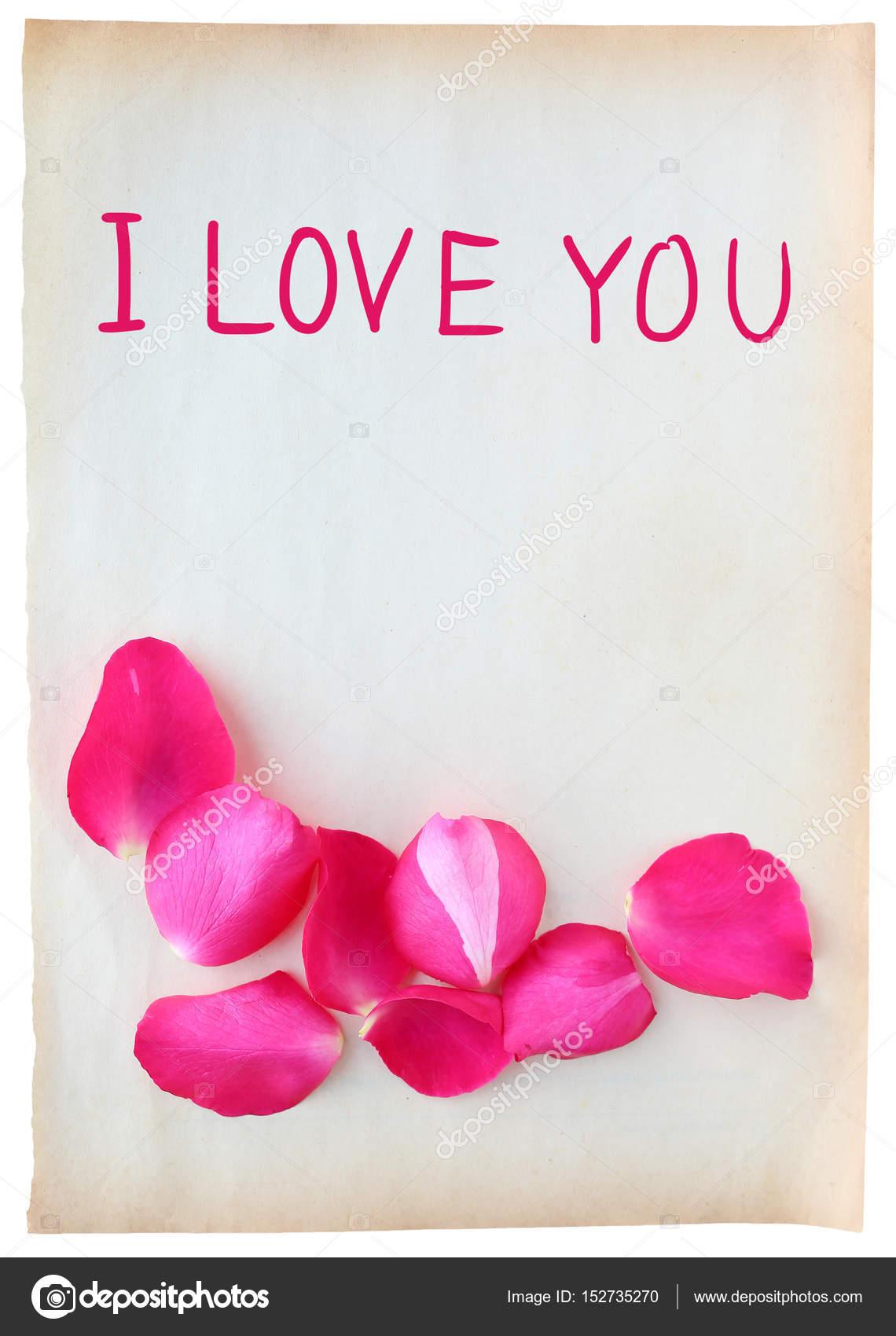 Abstract van rozenblaadjes op oud bruin papier met woord i love you abstract van rozenblaadjes op oud bruin papier met woord i love you gesoleerd op witte achtergrond foto van civicdmhotmail voltagebd Choice Image