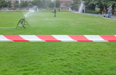 Red White warning tape fencing is protects for No entry