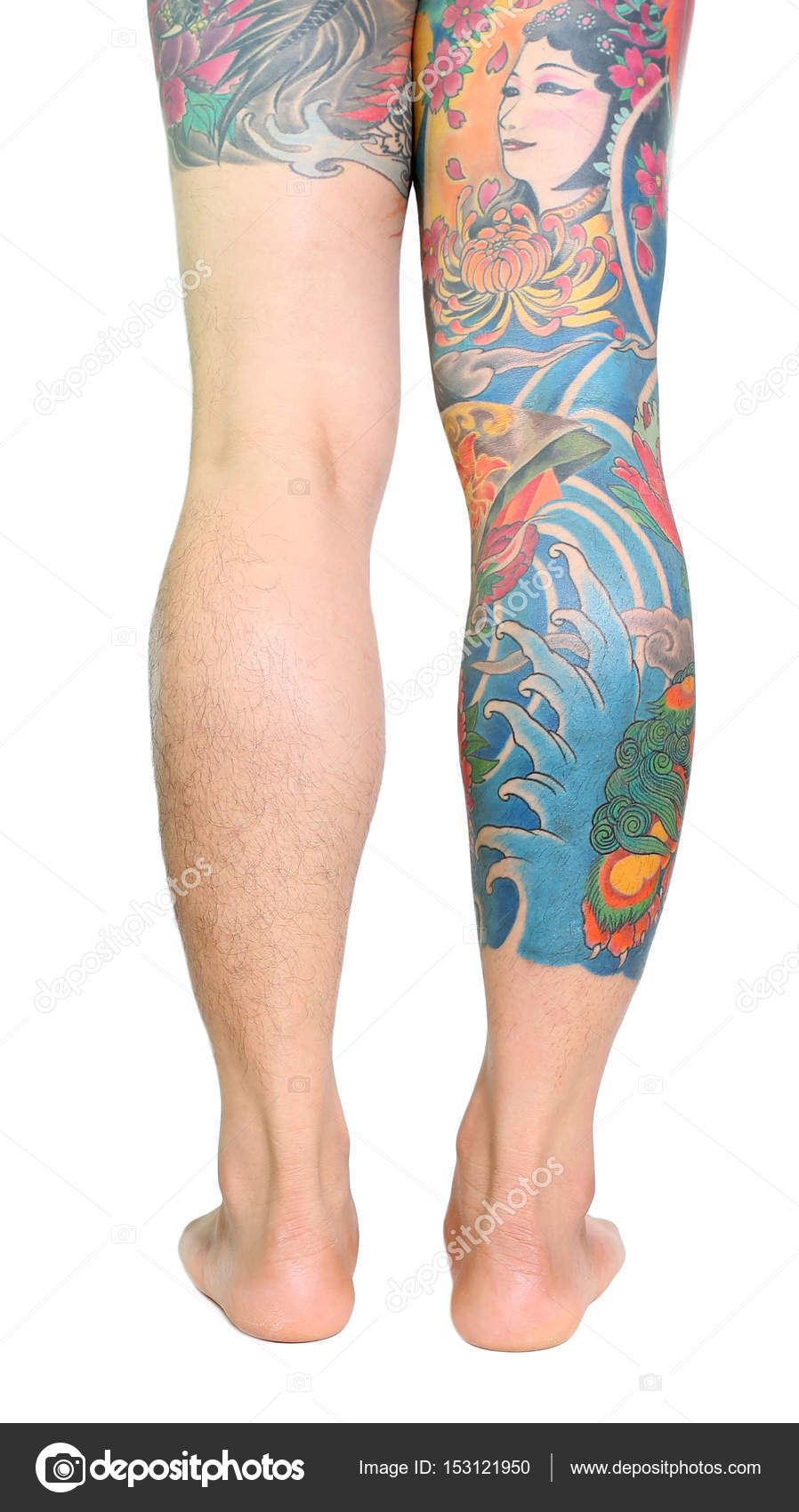 Full Oriental Japanese Style Tattoo On Leg Of Caucasian Man Isolated