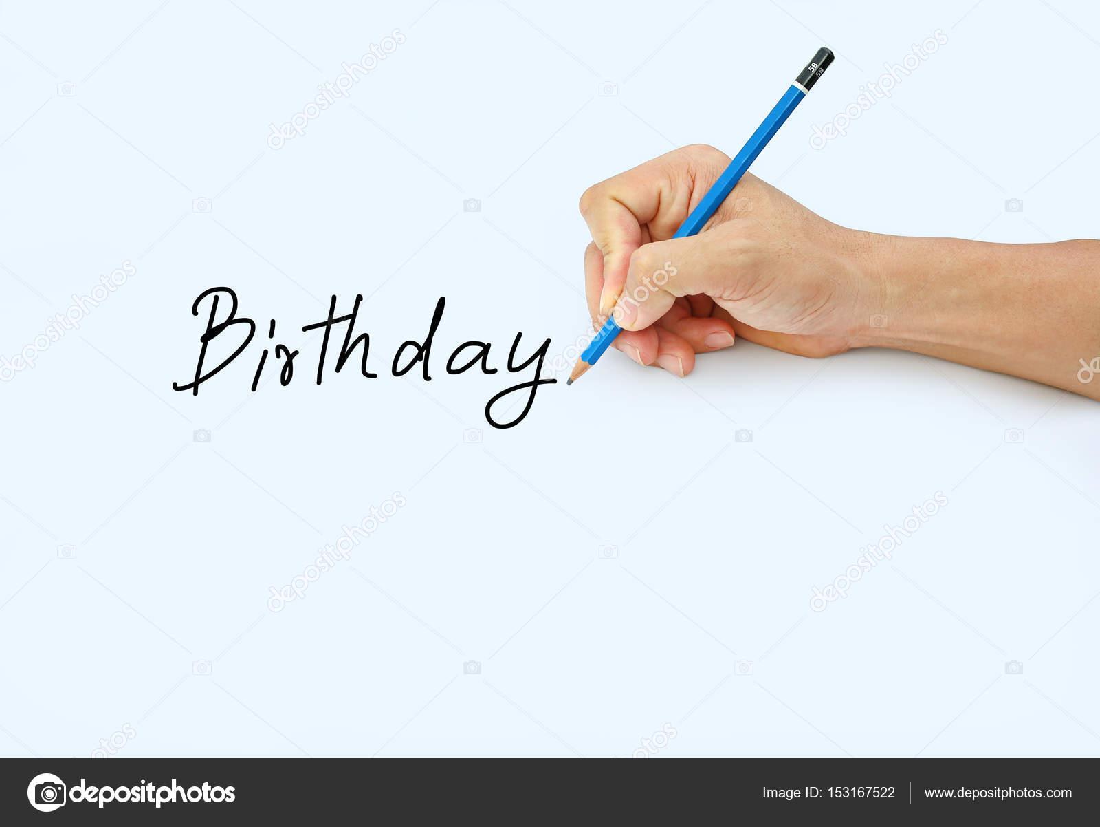Hand Mit Einem Bleistift Auf Weissem Papierhintergrund Schreiben Mit