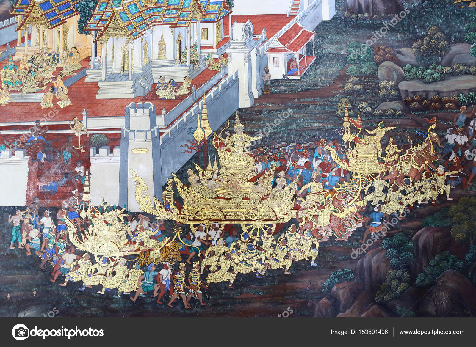 Traditional Thai painting art about Ramayana story on