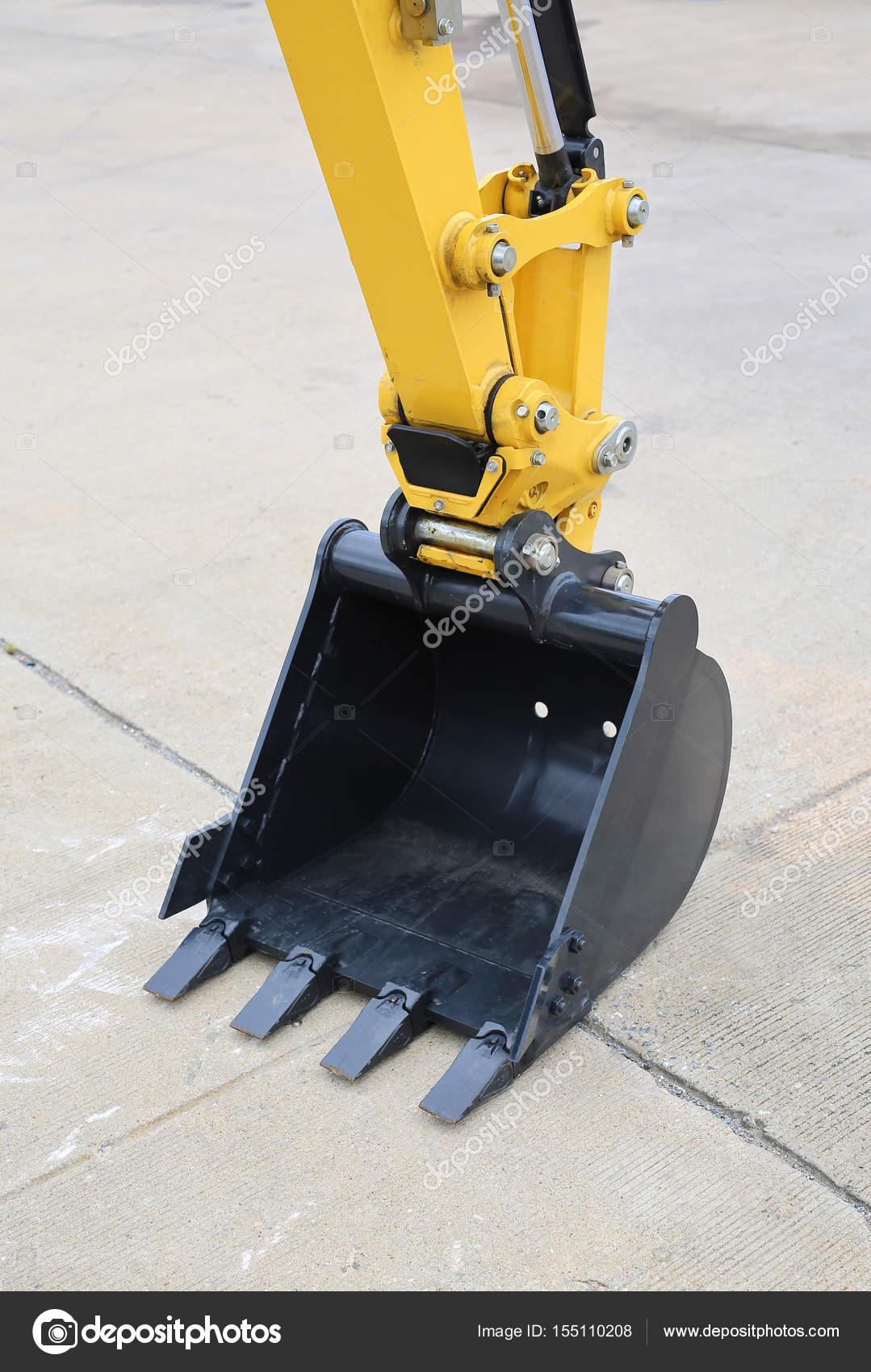 Baggerschaufel Auf Zement Boden Industrielle Bagger Maschine