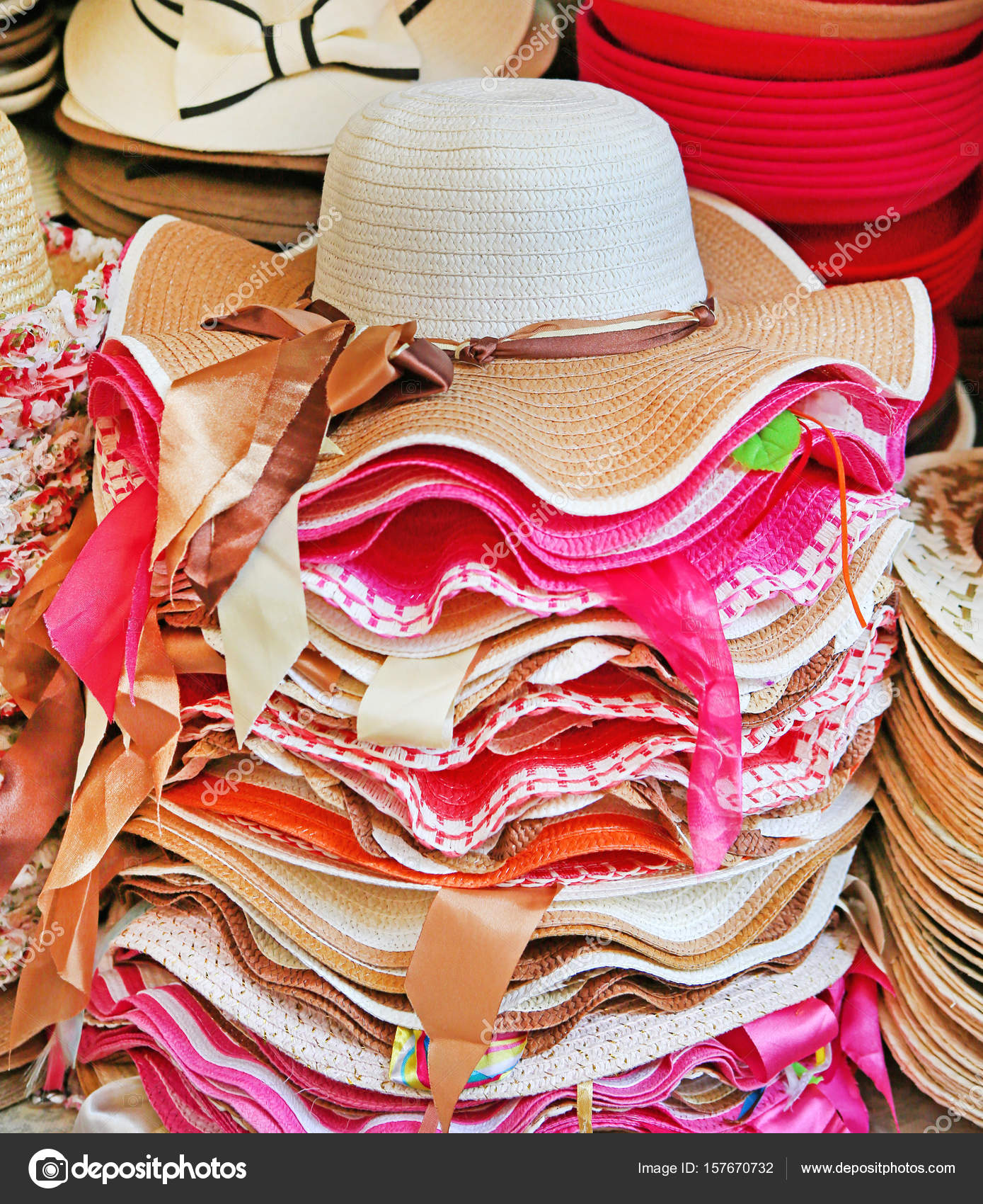 51ba5ccb199c9 Summer hats for sale in a market stall outdoor — Stock Photo ...