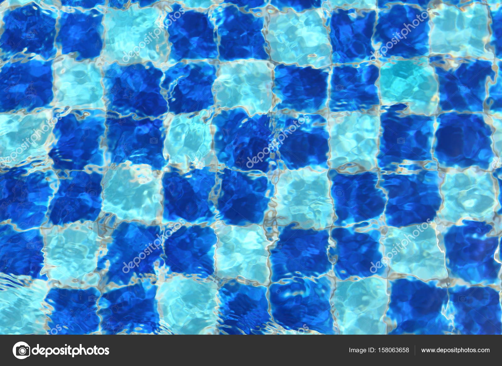Abstract Blue mosaic tiles of swimming pool water for background ...