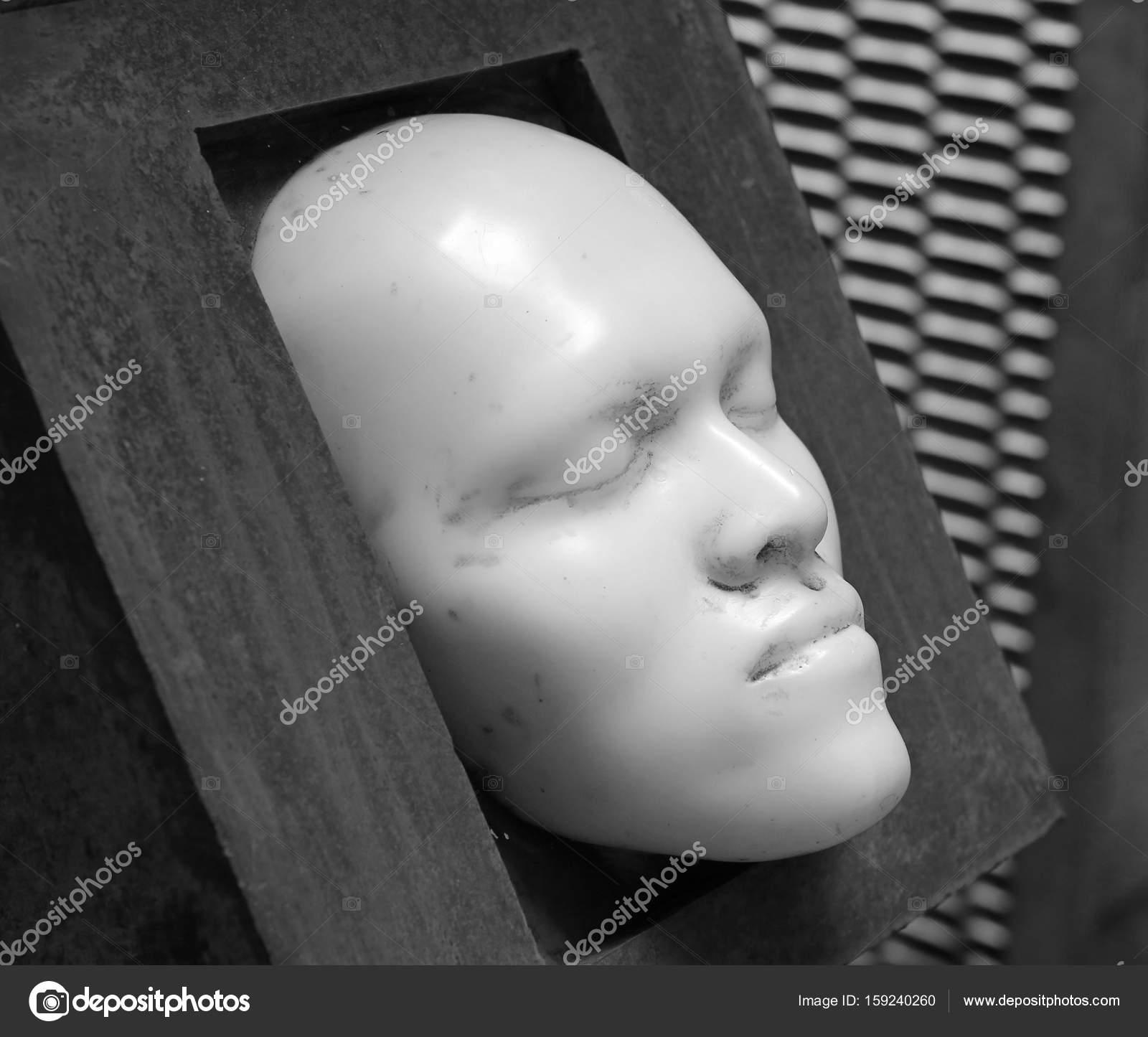 Leere weiße Männerkopf, Skulptur Porträt, klassische Zeichnung ...
