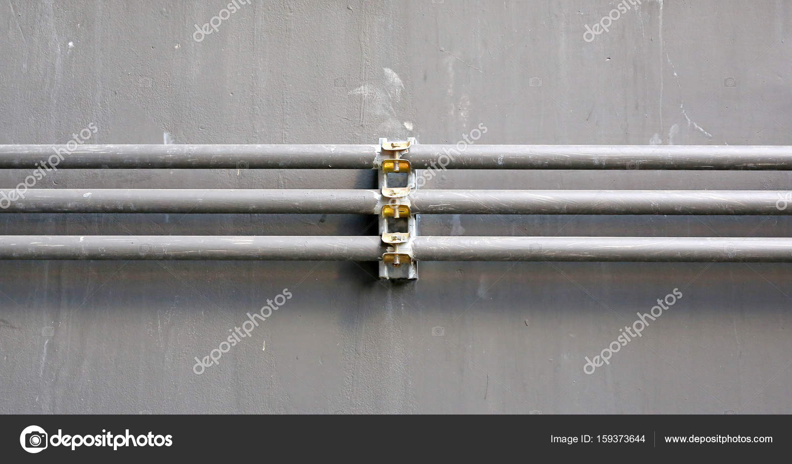 aluminium wire pipe at cement wall — Stock Photo © civic_dm@hotmail ...