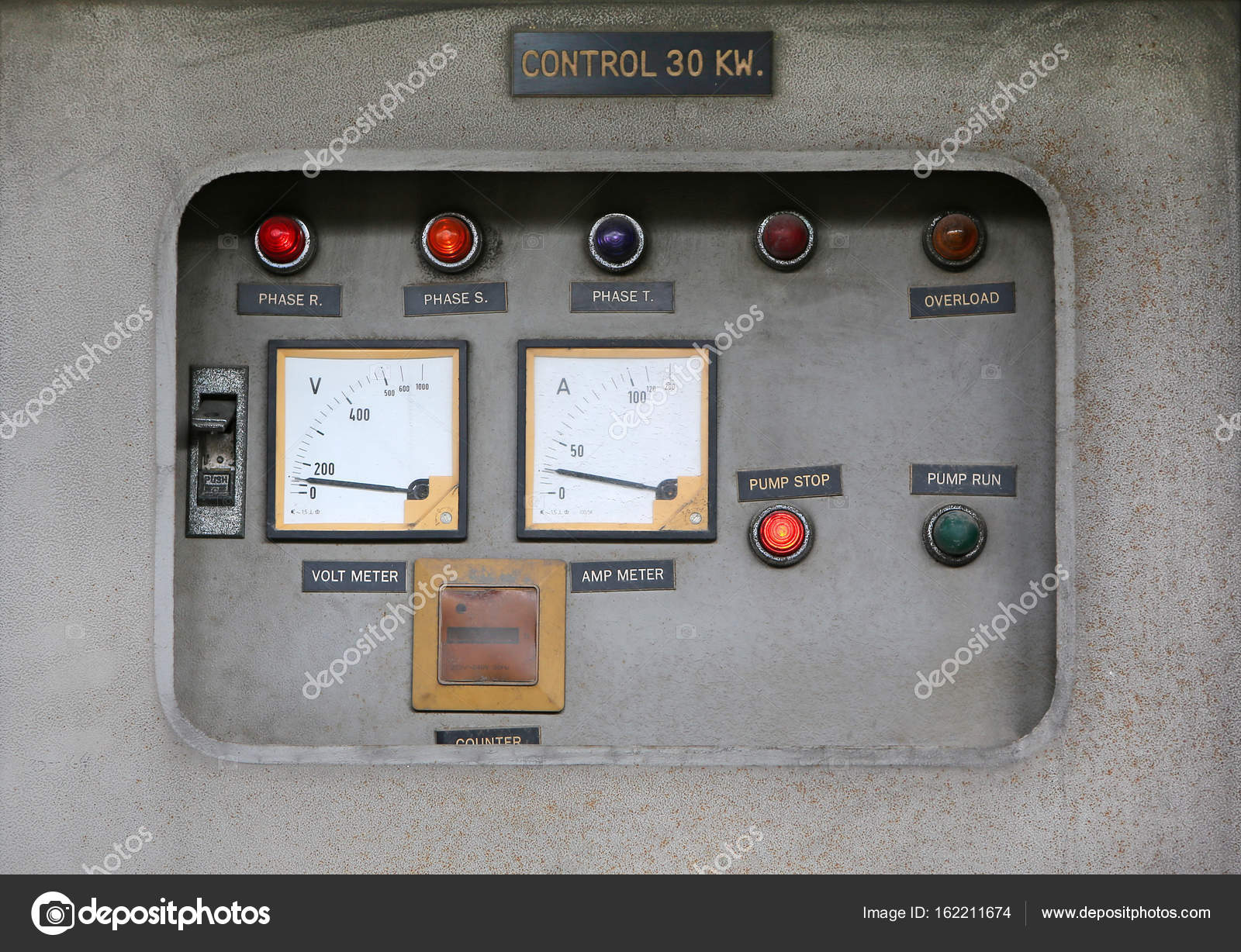 Old Main Distribution Board, Old electric control pump — Stock Photo ...