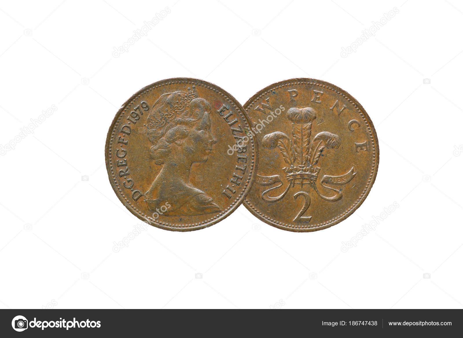 Britische Königin Elizabeth 1979 Isoliert Neue Pence Münze Auf