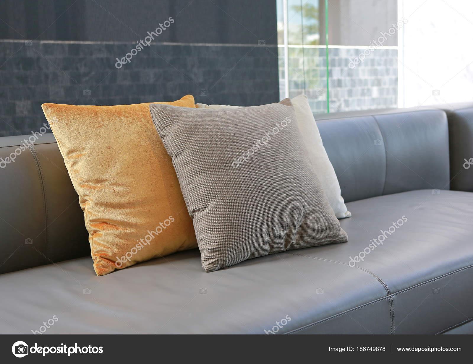 Fabric Pillows Leather Sofa Stock Photo C Civic Dm Hotmail Com 186749878
