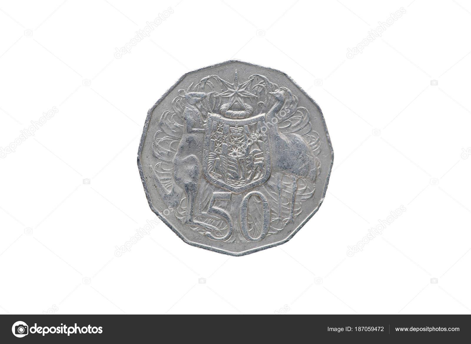 Australischer Dollar Münze Die Isoliert Auf Weißem Hintergrund