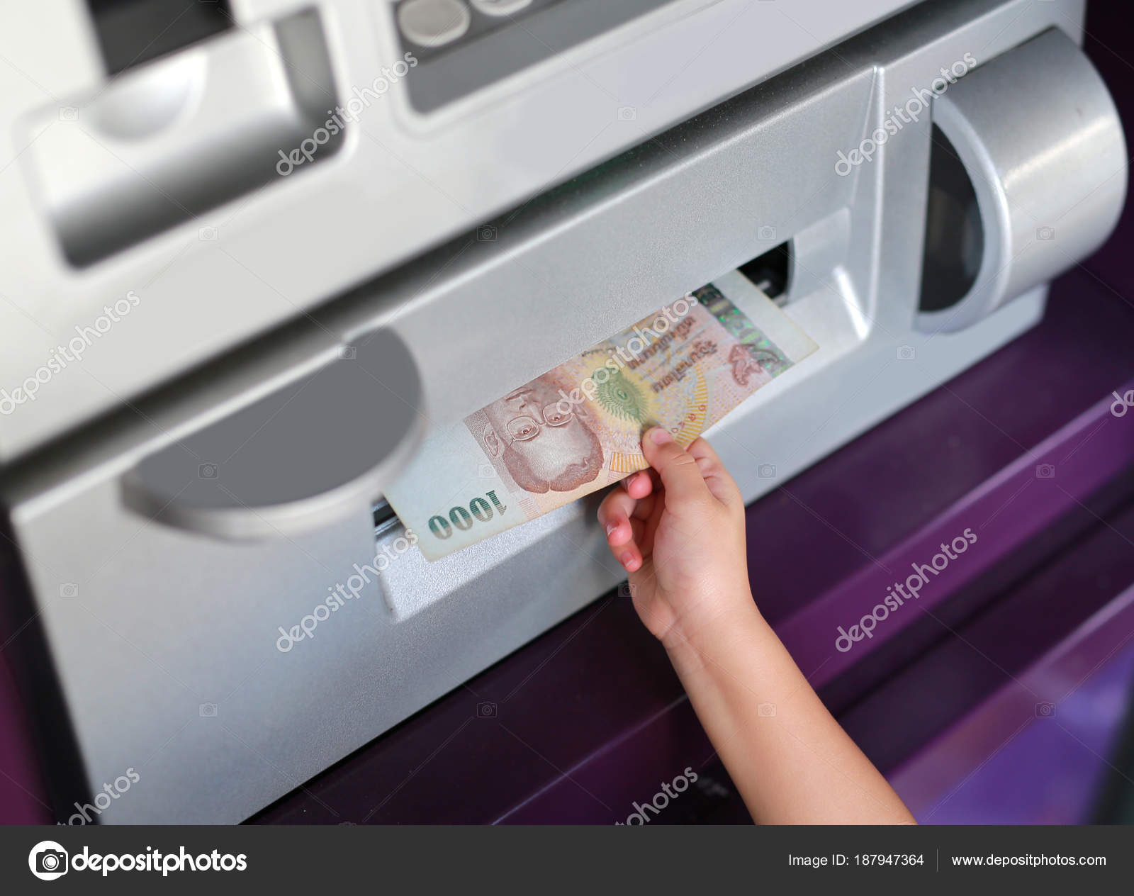 Child Hand Receive Money Atm — Stock Photo © civic_dm