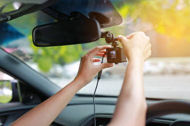 Hands installation front camera car recorder, Car DVR Vehicle.