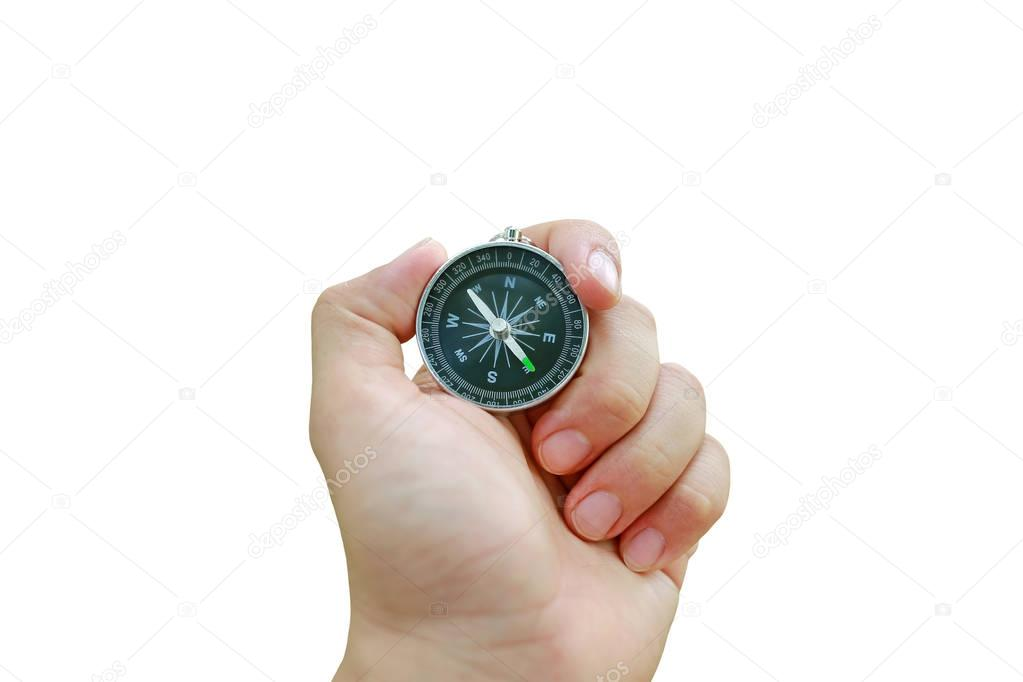 Compass in hand isolated on white background