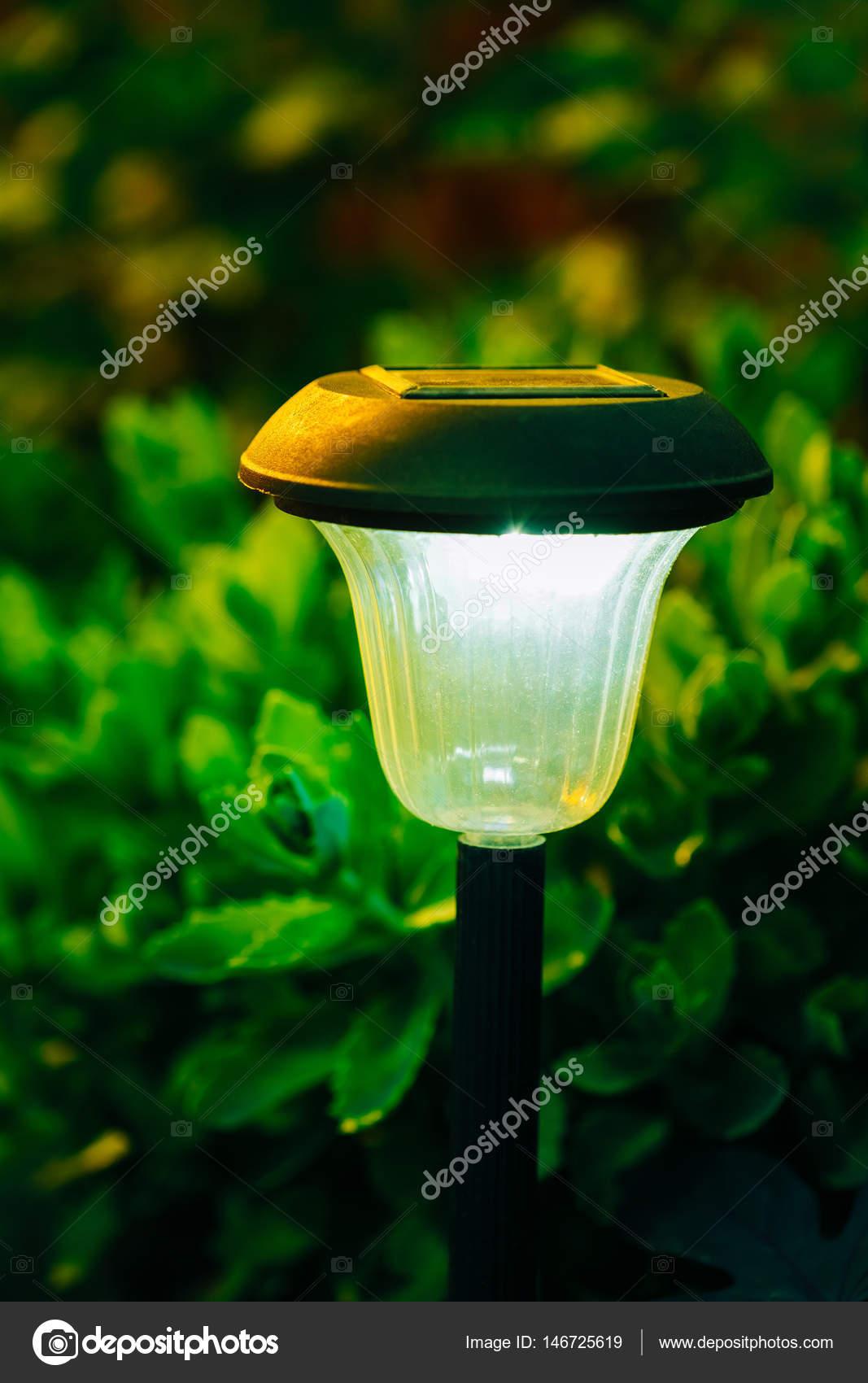 Decorative Small Solar Garden Light, Lanterns In Flower Bed. Solar ...